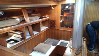 Coming down the companionway into the salon to port