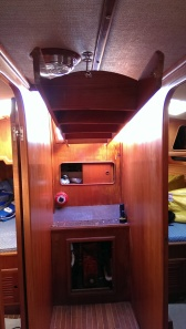 Looking at the companionway from salon. Ladder hung up to access v-drive