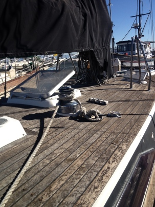 This picture shows the rough shape of the sail canvas and teak decks