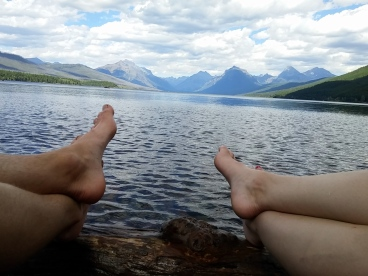 Relaxing on the shores of Lake McDonald.