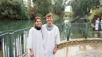 Before getting baptized in the River Jordan